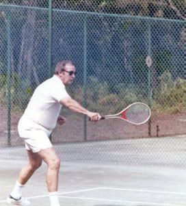 Henry Finch plays a game of tennis at Wild Dunes.