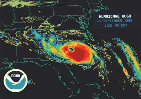 Hurricane Hugo Infrared from NOAA