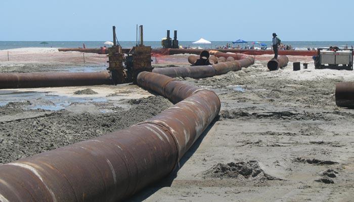 IOP dredging renourishment pipes